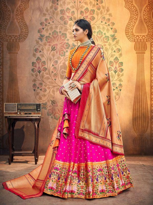 Rani Pink Unstitched Lehenga Choli