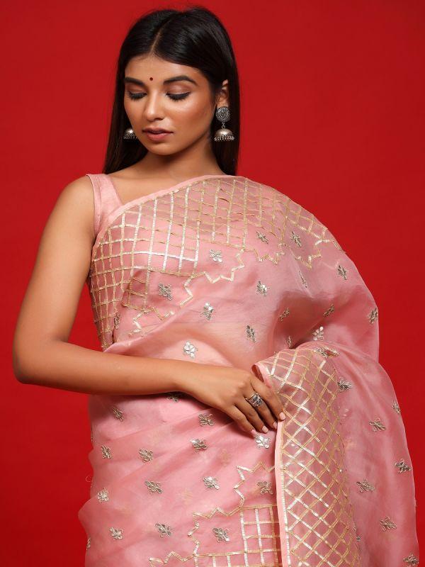 Baby Pink Organza Saree