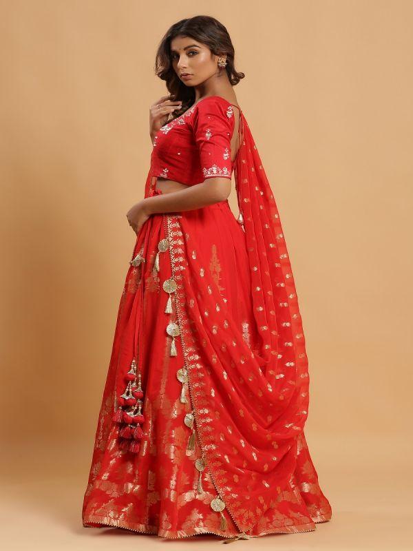 Red Unstitched Lehenga Choli