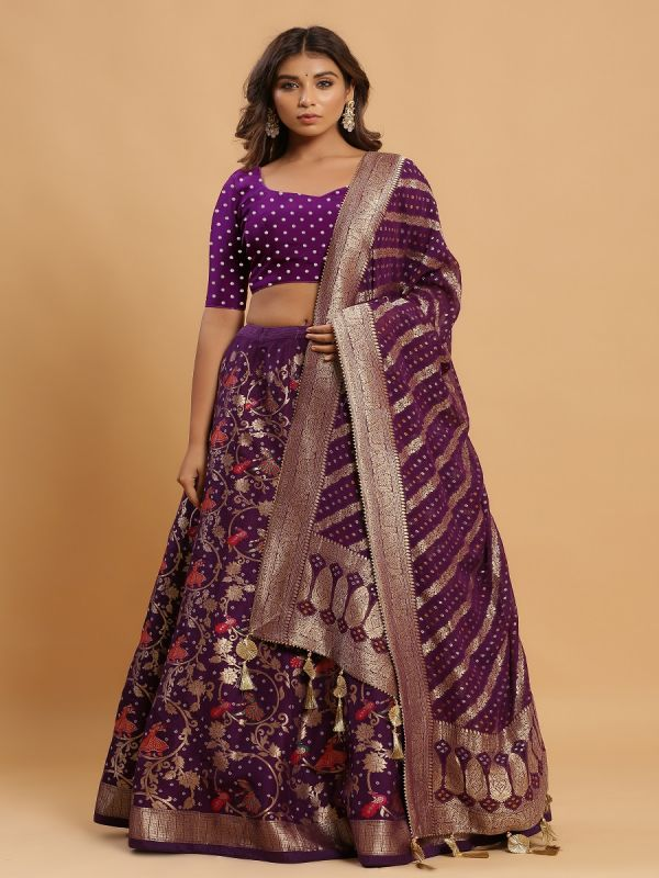 Purple Unstitched Lehenga Choli