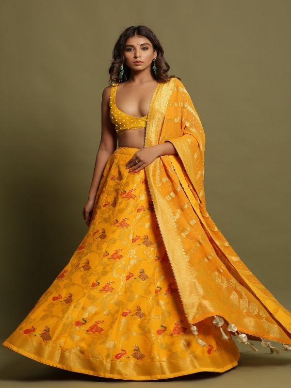 Yellow Unstitched Lehenga Choli