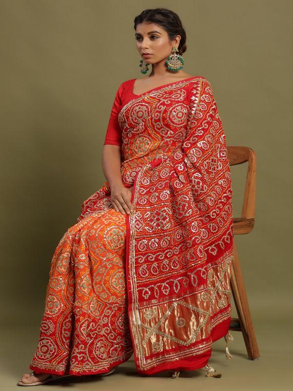 Orange With Red Bandhani Saree