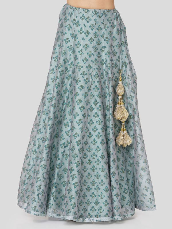 Steel Blue Block Printed Chanderi Jacket With Hand Embroidery & Plain Skirt With Tassels