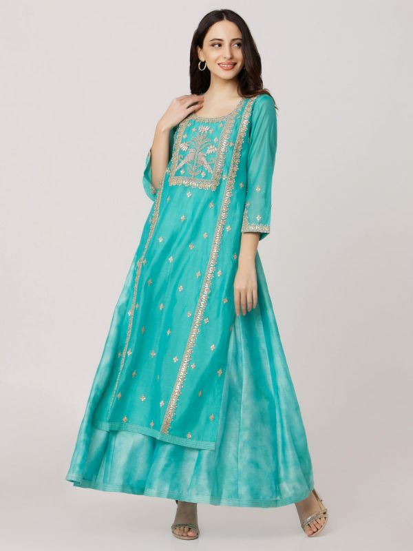 Green Colour Pure Chanderi Hand Embroidered Long Kurti With Tie & Dye Inner
