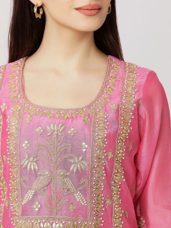 Pink Colour Pure Chanderi Hand Embroidered Long Kurti With Tie & Dye Inner