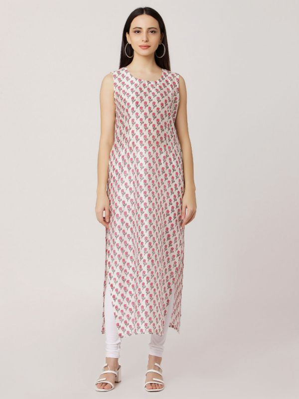 Pink Colour Pure Chanderi Stright Kurti With Printed Inner