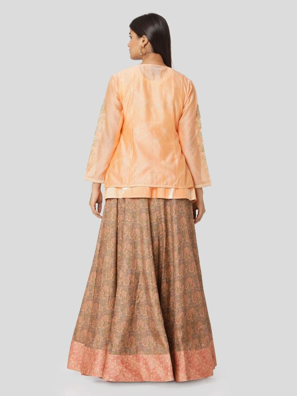 Peach Orange Chanderi Jacket Top With Hand Embroidery & Printed Skirt With Tassels