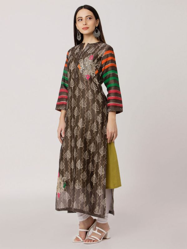 Brown Colour Pure Printed Chanderi Hand Embroidered Straight Side Slit Kurti With Plain Inner
