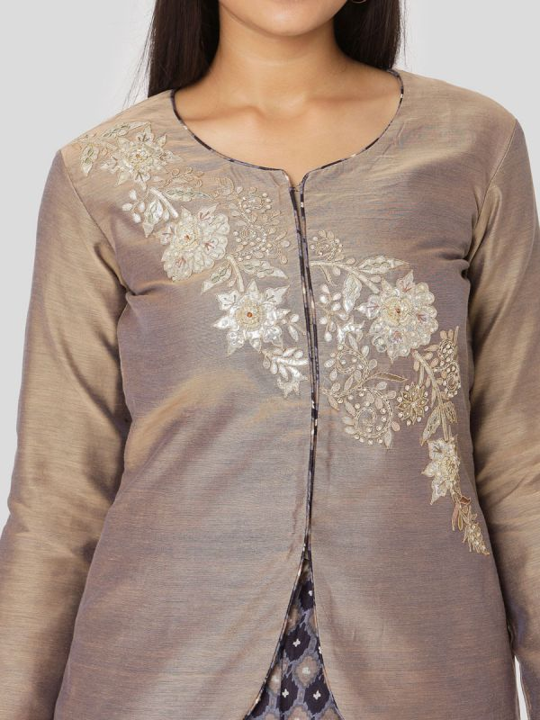 Beaver Brown Chanderi Jacket With Hand Embroidery & Printed Skirt With Tassels