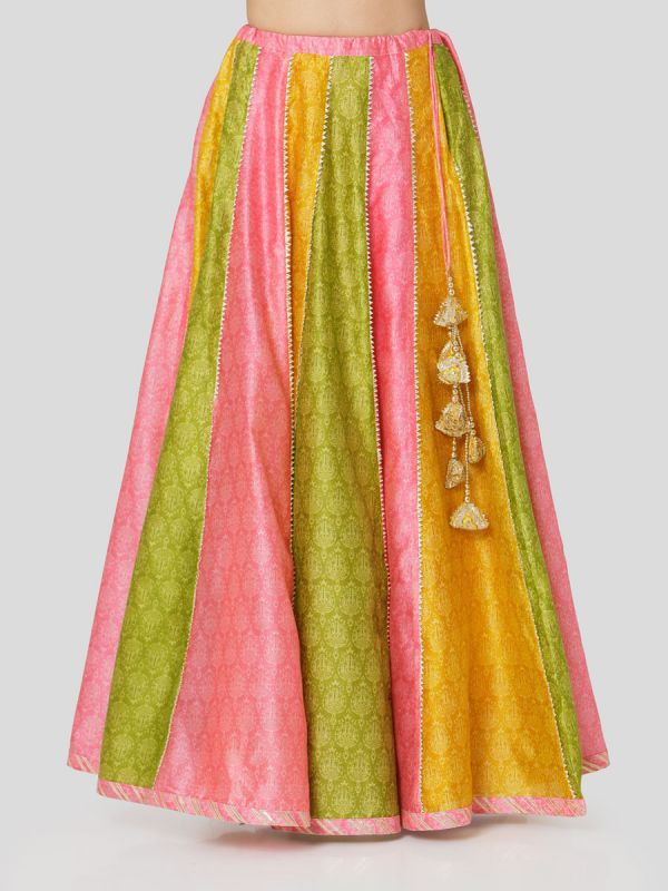 Candy Pink Chanderi Jacket With Hand Embroidery & Printed Multi Colour Skirt With Tassels