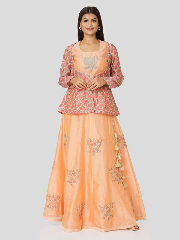 Coral Peach Chanderi With Multi Colour Jacket & Hand Embroidery Aplic Work Skirt With Tassels