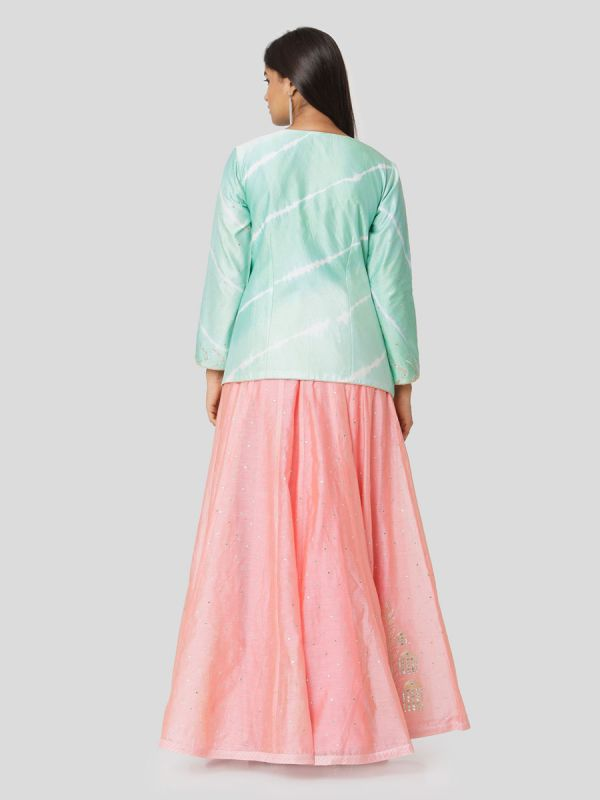 Mint Green Chanderi Tie & Dye Jacket Top With Hand Embroidery Mirror Work Plain Pink Skirt With Tassels