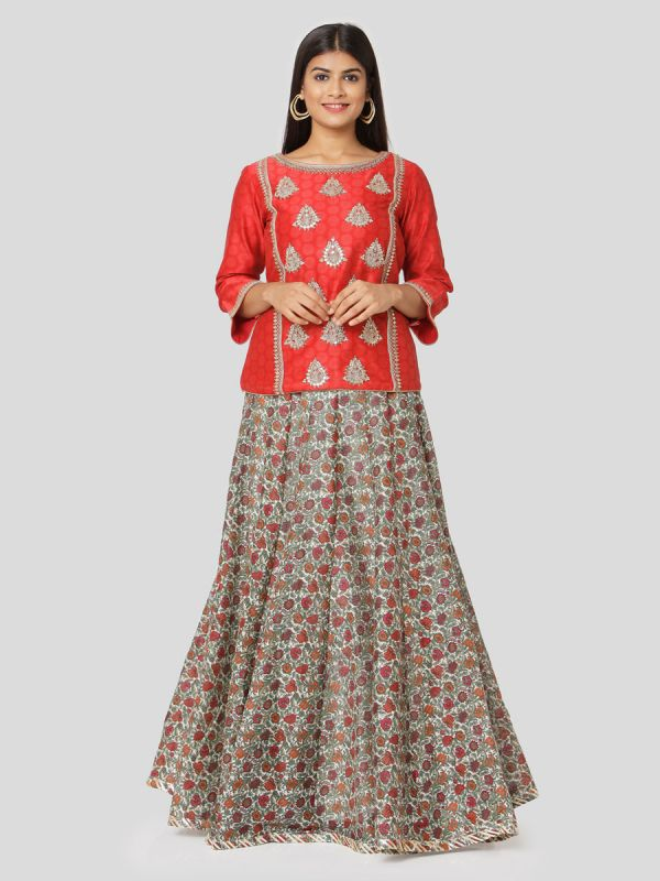 Apple Red Chanderi Top With Hand Embroidery & Multi Colour Skirt With Tassels