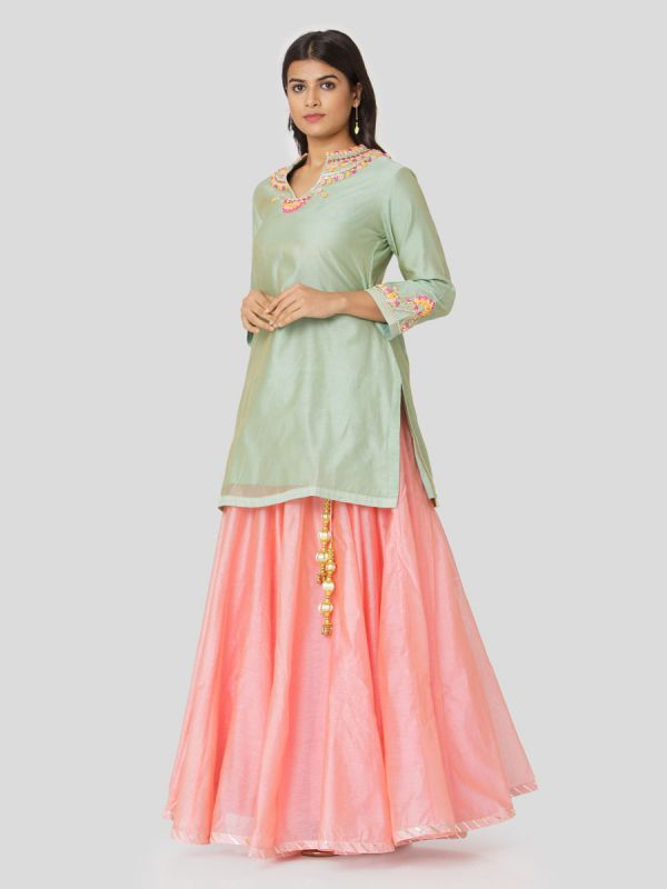Moss Green Chanderi Long Top With Hand Embroidery & Plain Pink Skirt With Tassels