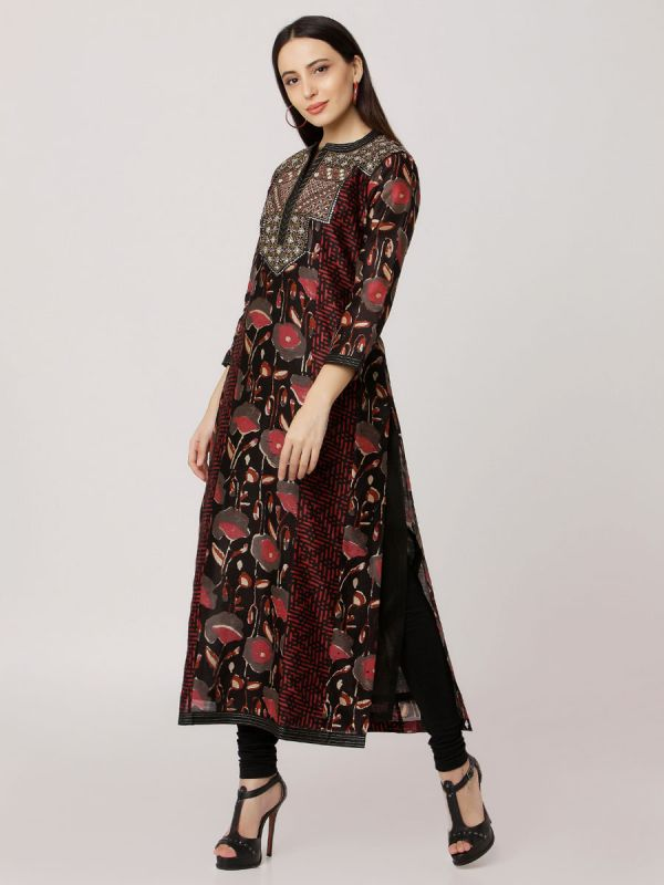 Black & Maroon Pure Colour Printed Chanderi Hand Embroidered Straight Side Slit Kurti With Plain Inner