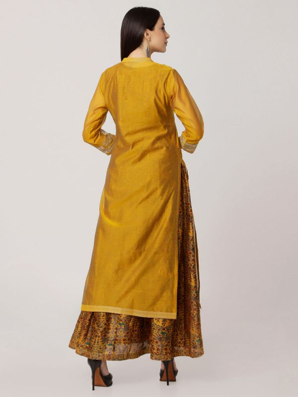Mustard Colour Pure Chanderi Kurti With Side Slits And Printed Long Inner