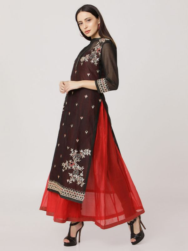Black Colour Pure Chanderi Hand Embroidered Kurti With Plain Long Inner