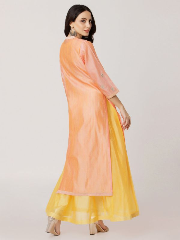 Orange Colour Pure Chanderi Hand Embroidered Kurti With Plain Long Inner