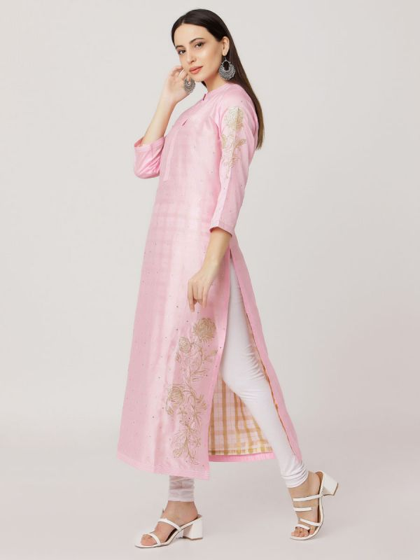Light Pink Colour Pure Printed Chanderi Hand Embroidered Straight Kurti With Banarasi Inner