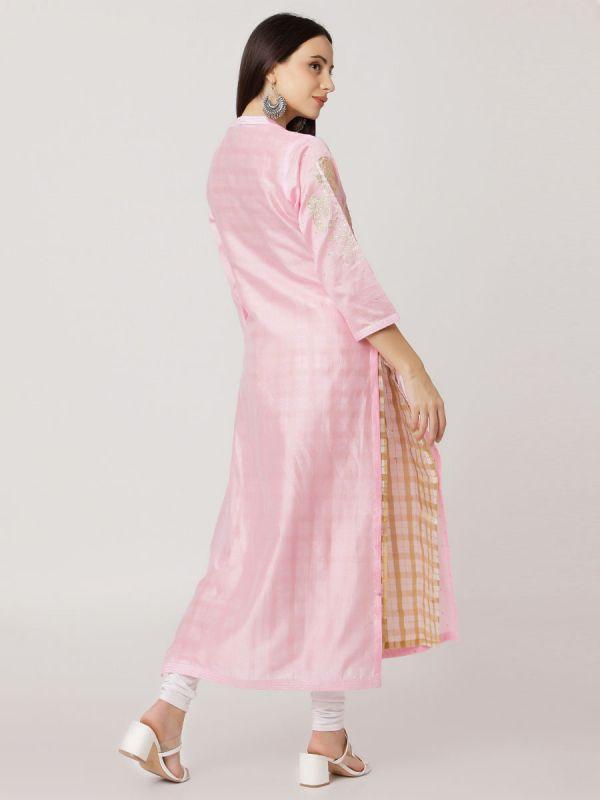Light Pink Colour Pure Printed Chanderi Hand Embroidered Straight Kurti With Banarasi Inner