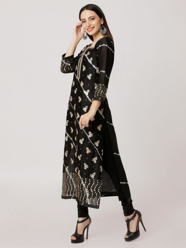 Black Colour Pure Chanderi Tie & Dye Hand Embroidered Straight Kurti With Side Slits Along Plain Self Inner