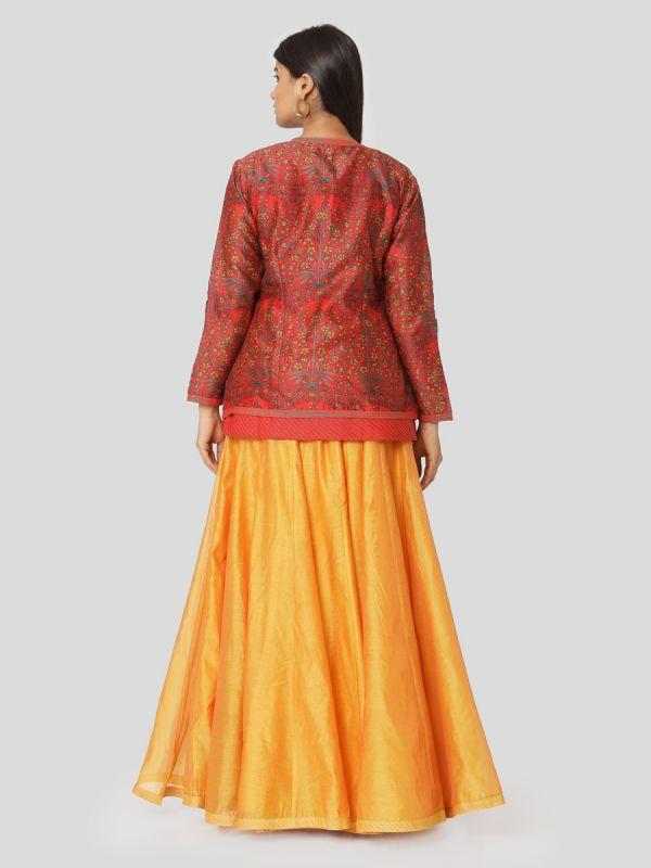 Venetian Red Chanderi Long Top With Gota Patti Work & Plain Orange Skirt With Tassels
