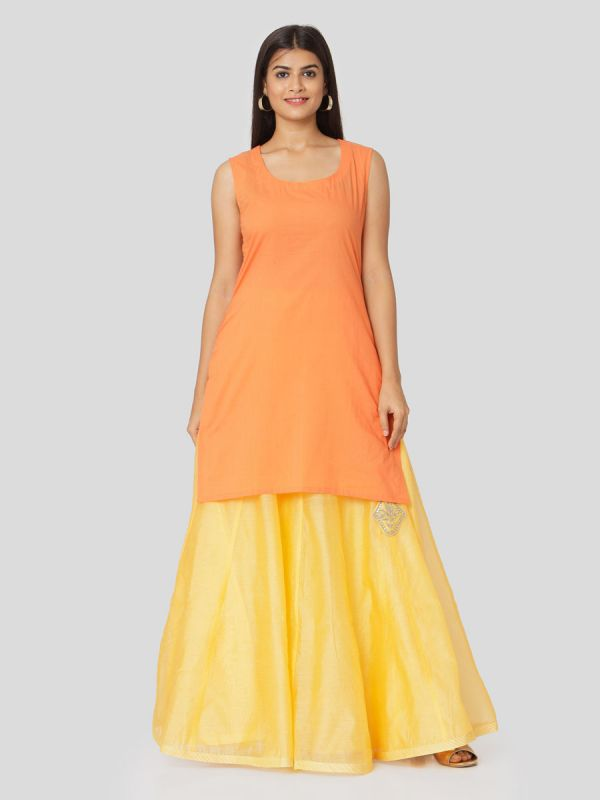 Coral Orange Chanderi Jacket With Hand Embroidery & Plain Yellow Skirt With Tassels