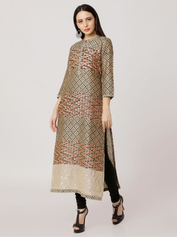 Beige Colour Pure Printed Chanderi Hand Embroidered Straight Kurti With Plain Inner