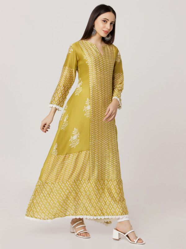 Metallic Gold Colour Pure Chanderi A Line Printed Kurti With Mirror Work & Along Plain Inner