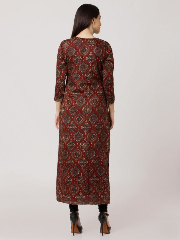 Maroon Colour Pure Printed Chanderi Hand Embroidered Straight Kurti With Black Plain Inner