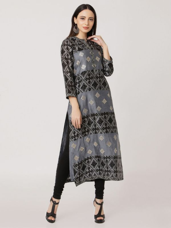Grey Colour Pure Printed Chanderi Hand Embroidered Straight Kurti With Self Plain Inner