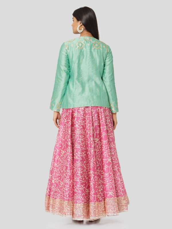 Aquamarine Green Chanderi Jacket Top & Printed Pink Skirt With Gota Patti Work
