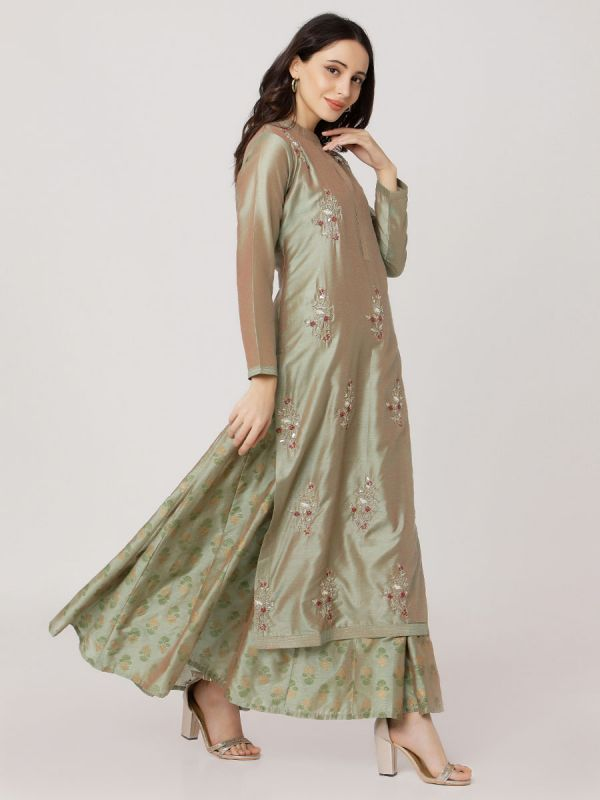 Metallic Green Colour Pure Chanderi Hand Embroidered Kurti With Printed Long Inner