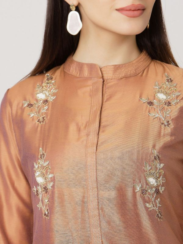 Copper Colour Pure Chanderi Hand Embroidered Kurti With Printed Long Inner