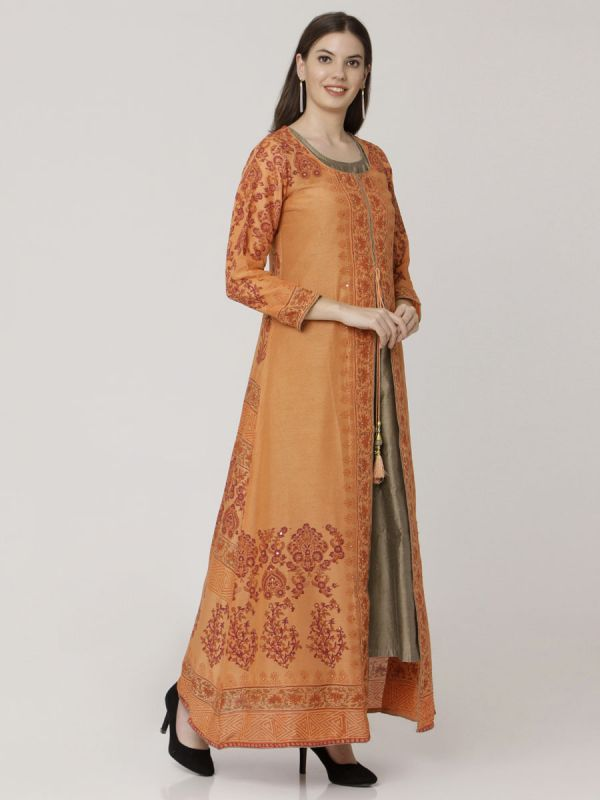 Orange Colour Pure Chanderi Hand Block Print Long Kurti With Plain Inner