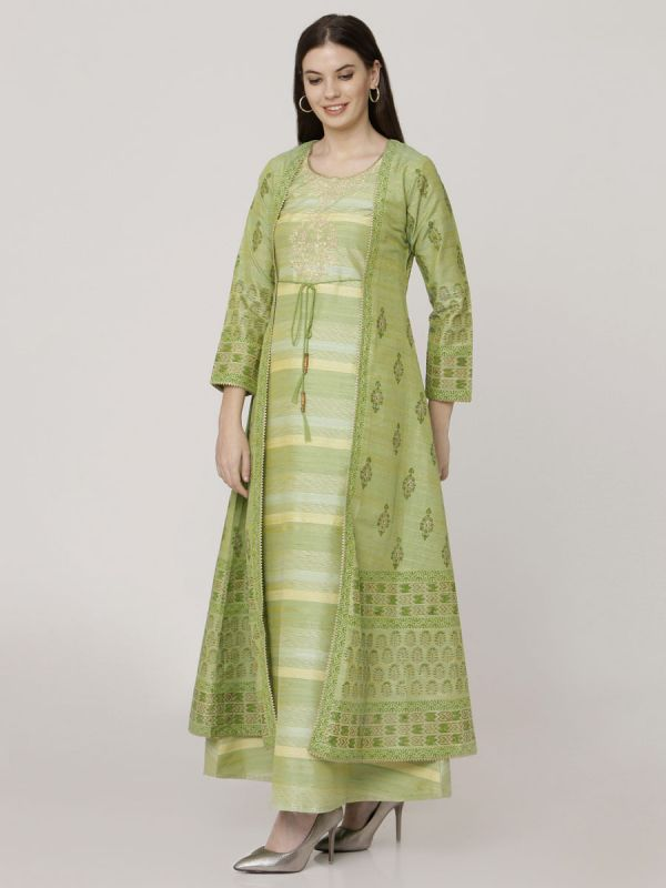 Pastel Green Colour Chanderi Long Jacket Kurti With Hand Work & Block Print Work Comes With Weaving Inner