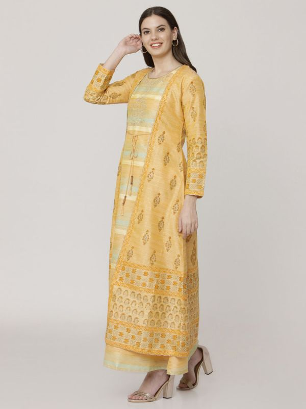 Pastel Orange Colour Chanderi Long Jacket Kurti With Hand Work & Block Print Work Comes With Weaving Inner