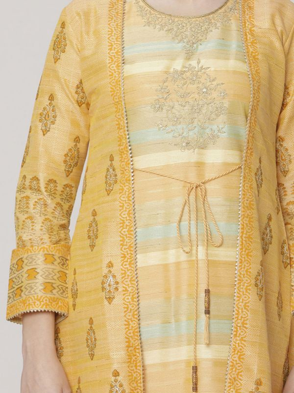 Pastel Orange Colour Chanderi Long Jacket Kurti With Hand Work & Block Print Work Comes With Weaving Inner