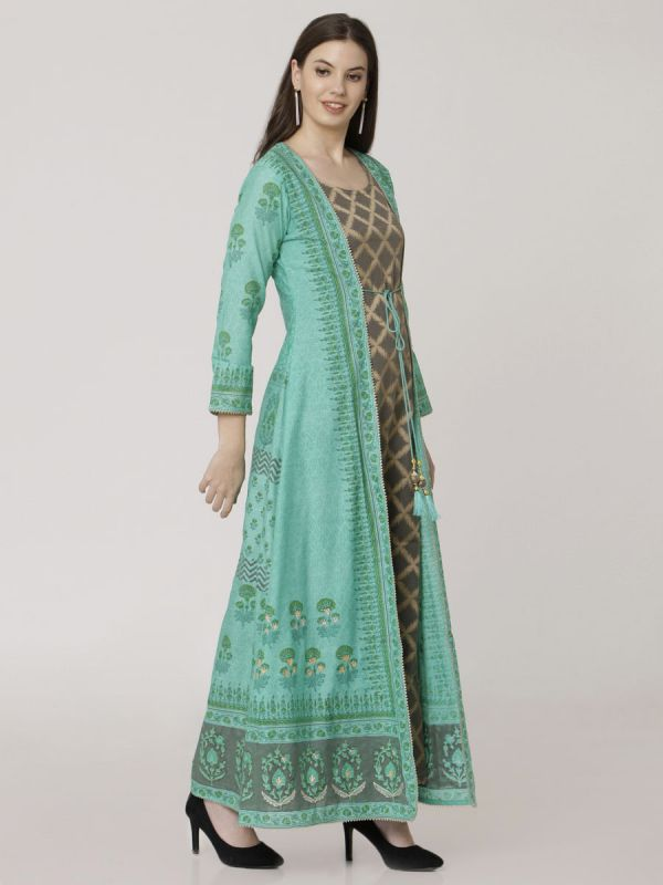 Turquoise Colour Chanderi Long Jacket Kurti With Hand Work & Block Print Work Comes With Banarasi Inner
