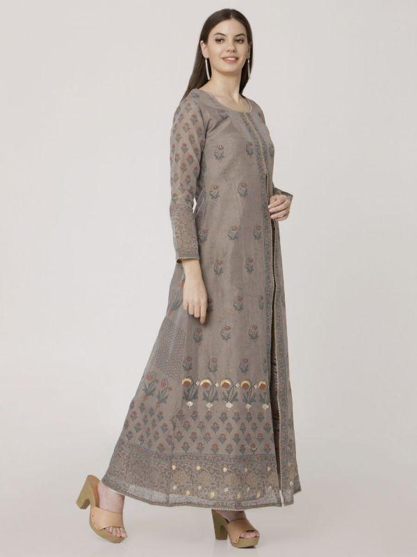 Battleship Grey Colour Pure Chanderi Block Print & Hand Work Jacket Kurti With Banarasi Printed Inner