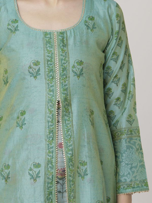 Sea Green Colour Pure Chanderi Block Print & Hand Work Jacket Kurti With Banarasi Printed Inner