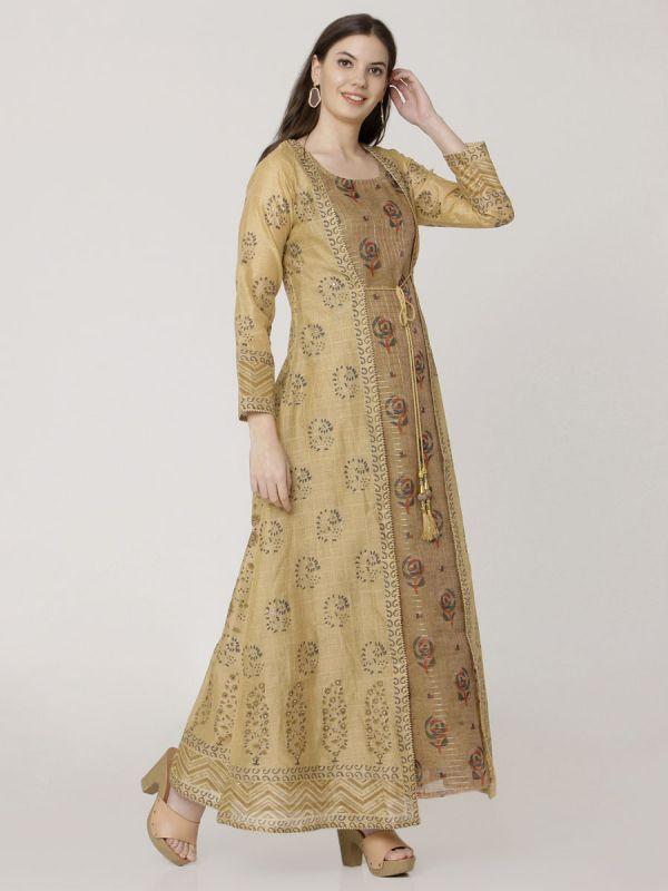 Beige Colour Pure Chanderi Block Print & Hand Work Long Jacket Kurti With Banarasi Printed Inner