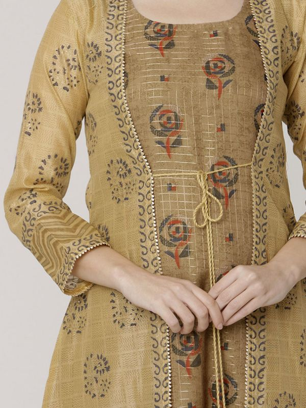 Beige Colour Pure Chanderi Block Print & Hand Work Long Jacket Kurti With Banarasi Printed Inner