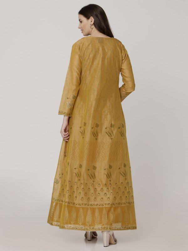 Ochre Rust Colour Pure Chanderi Block Print & Hand Work Long Jacket Kurti With Banarasi Inner