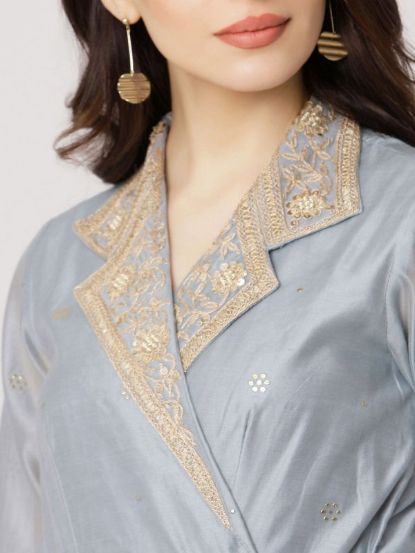 Ice Blue Colour Pure Chanderi Hand Work Long Kurti