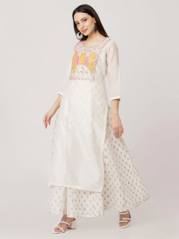 White Colour Pure Chanderi Kurti With Side Slits Hand Embroidery Work & Long Block Print Inner