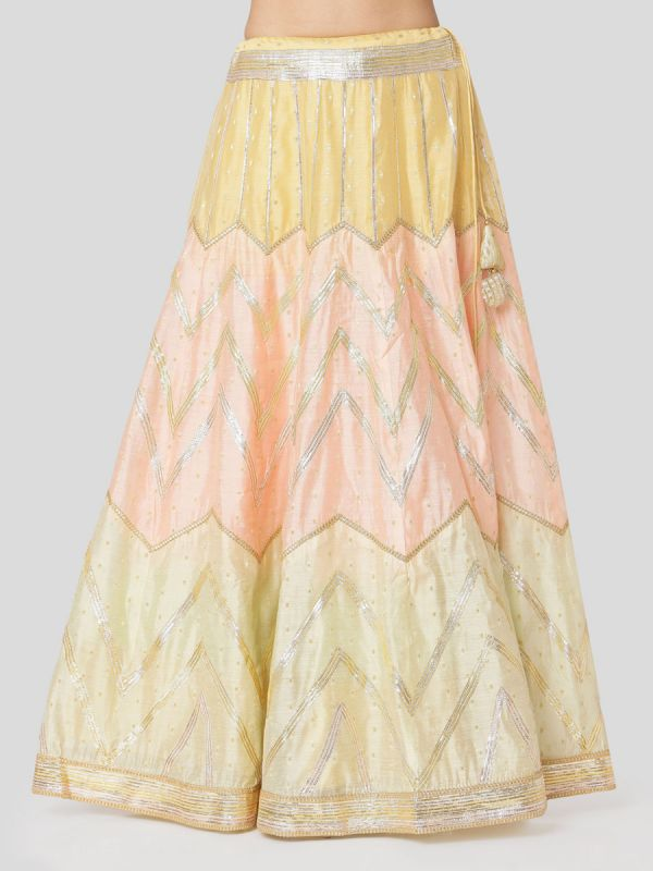 Banana Maina Yellow Chanderi Skirt & Jacket Top With Gota Patti Work