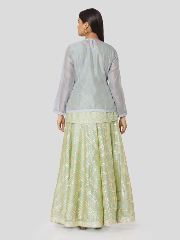 Tea Green Chanderi Skirt & Carolina Blue Jacket Top With Gota Patti Work