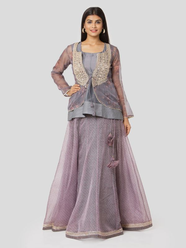 Purple & Grey Organza Jacket Top With Gota Patti Work & Plain Skirt