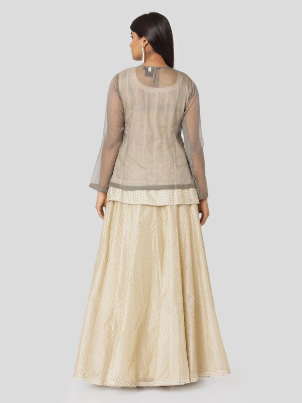 Scorpion Grey Organza Jacket With Gota Patti Work & Printed Ivory Chanderi Skirt